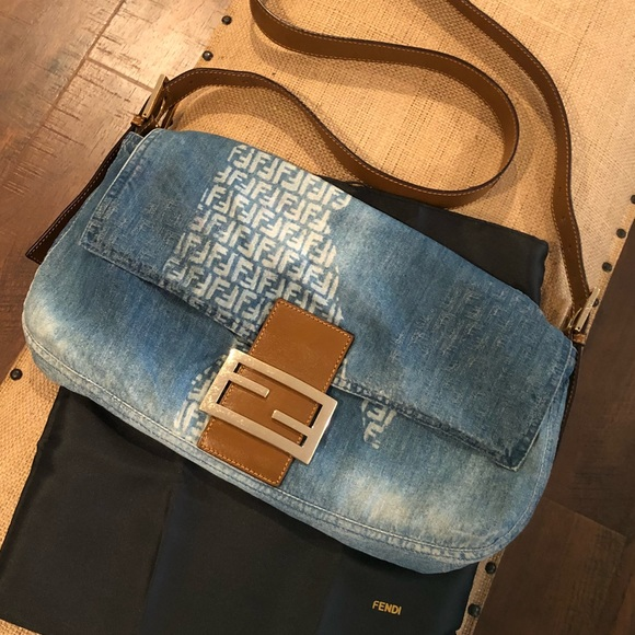 Fendi Handbags - Fendi distressed denim baguette crossbody cd3607574b005